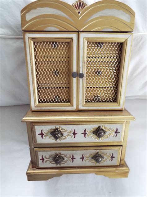 Armoire Jewelry Box by Florentine Armoire Wood Jewelry Box Mesh Doors