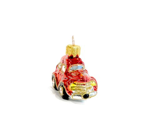 christmas glass ornament red gold car renio clark