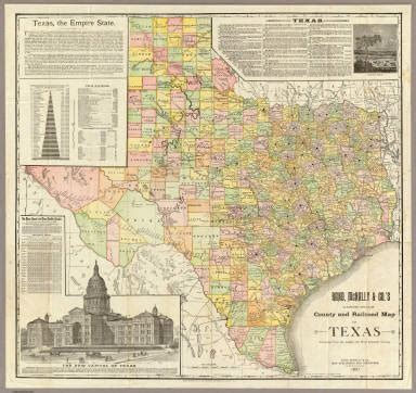rand mcnally map of texas large scale county and railroad map of texas rand mcnally and company 1891