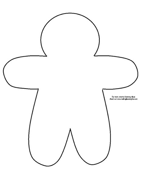 gingerbread man printable pdf templates outline for writing page glyph gingerbread