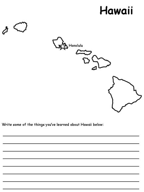 Hawaii Worksheets by Hawaii State Map