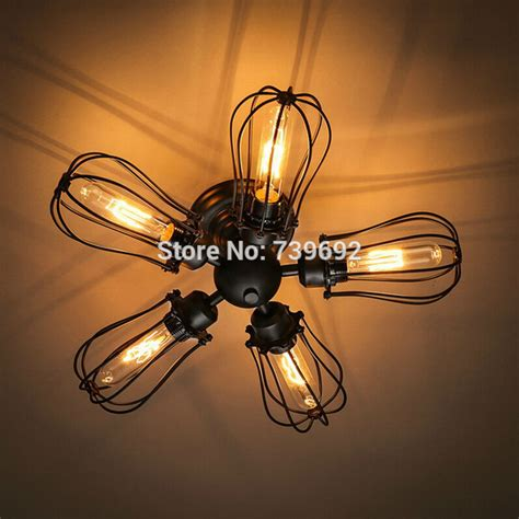 Wire Light Fixtures Vintage Industrial Rustic Metal Wire Cage Steunk Ceiling L Light Mini Rustic Flush Mount