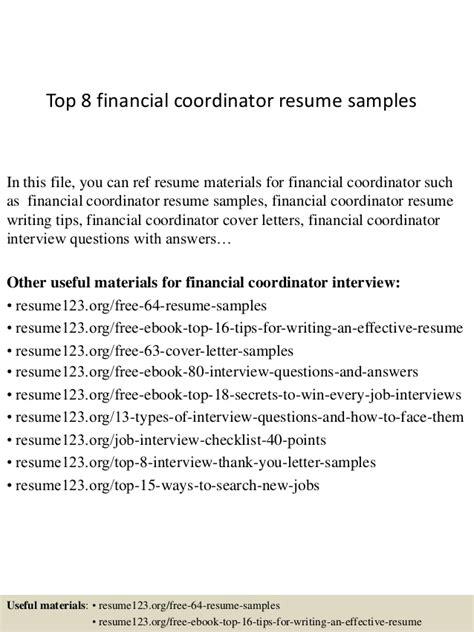 top 8 financial coordinator resume sles