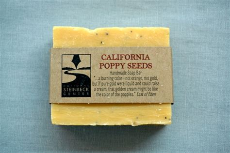 Handmade Soap California - handmade soap with steinbeck quote california poppy seeds
