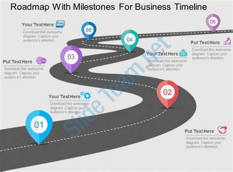 Roadmap With Milestones For Business Timeline Flat Powerpoint Design Ppt Images Gallery Milestone Roadmap Template