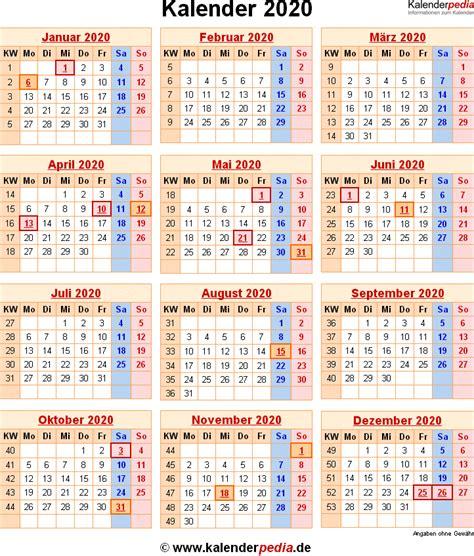 kalender  mit excelpdfword vorlagen feiertagen ferien kw