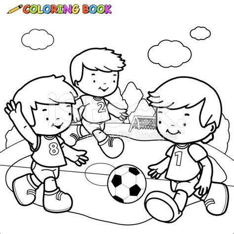 imagenes de niños jugando trompo para colorear libro para colorear ni 241 os jugando al f 250 tbol vector de