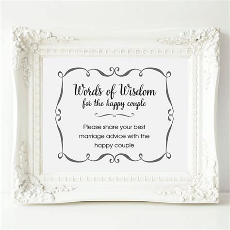 Wedding Wisdom Advice by Wedding Advice Sign Words Of Wisdom Sign Wedding Shower