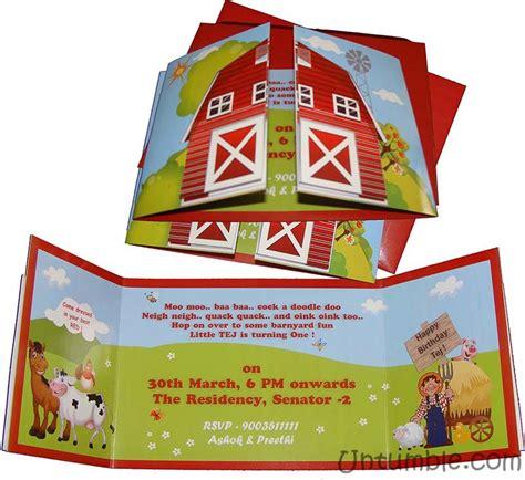 farm themed birthday invitations book type invitation barnyard birthday untumble com