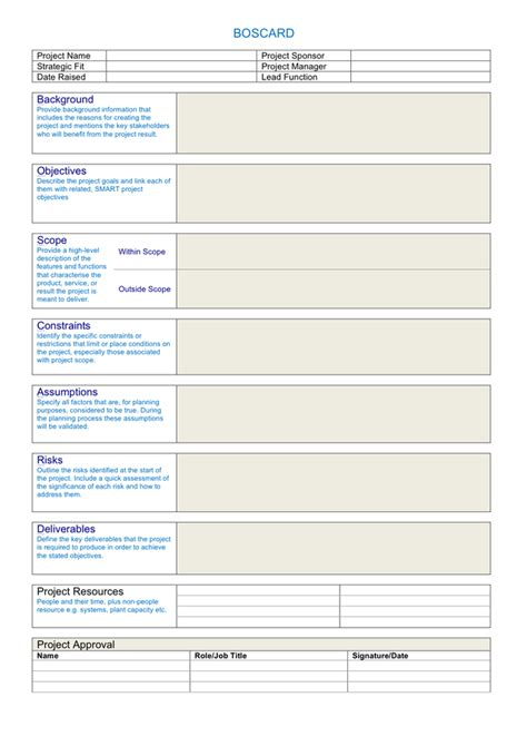 what is template boscard template in word and pdf formats