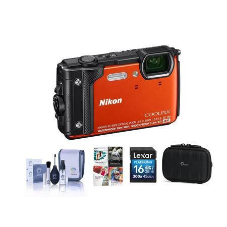 nikon coolpix w300 point shoot orange with free pc accessory bundle