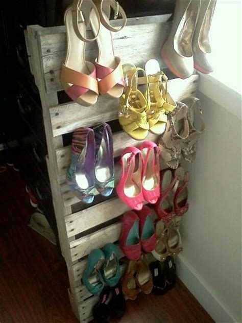 shoe holder diy pallet wood redone to create a shoe rack pallet