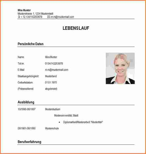 Lebenslauf Muster Student Word 6 Lebenslauf Student Muster Transition Plan Templates