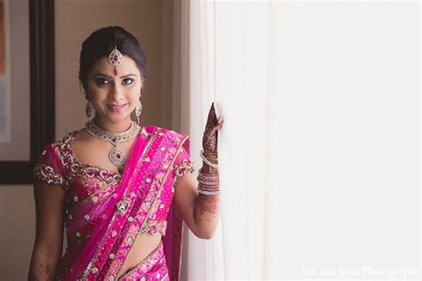 Indian wedding bride pink sari in Huntington Beach, CA