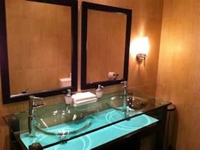 glass bathroom sinks countertops modern glass countertops with glass vessel sinks built in