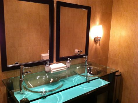 glass bathroom countertops sinks modern glass countertops with glass vessel sinks built in