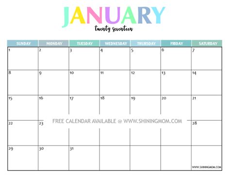 printable monthly calendar january 2017 your free 2017 printable calendar fun and colorful