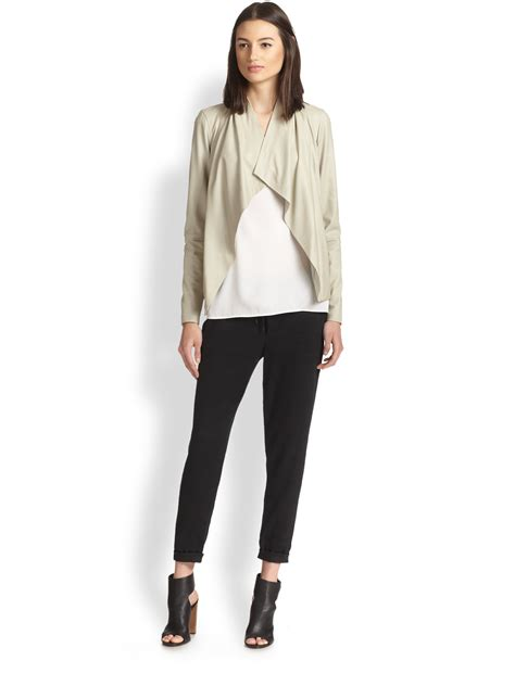 draped leather jacket vince draped leather jacket in natural lyst