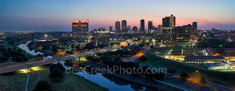 city of fort worth street lights fort worth skyline sunrise pano bee creek photo fine