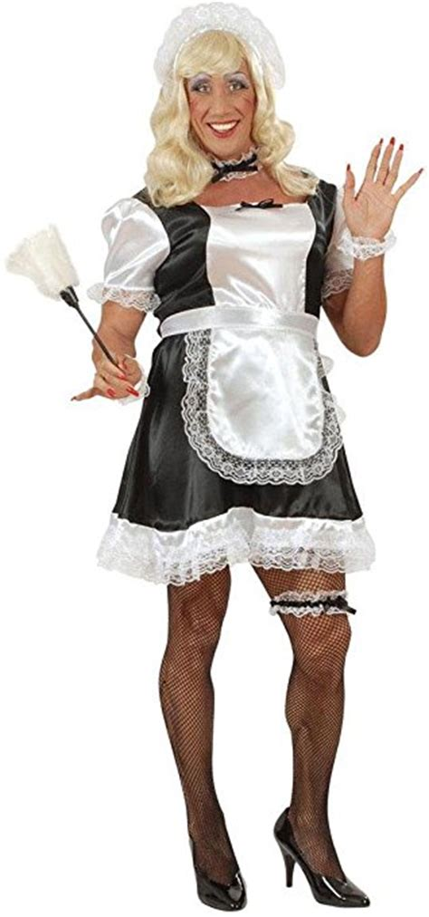 "French Maid for Men   Drag Queens   Adult Fancy Dress Costume   44 46"" XL   Character Fancy Dress"