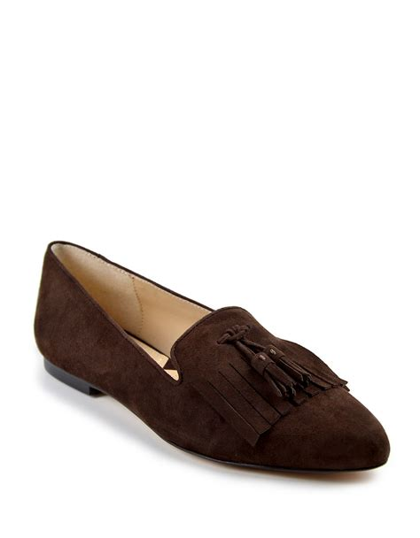 adrienne vittadini shoes flats lyst adrienne vittadini aldon suede flats in brown