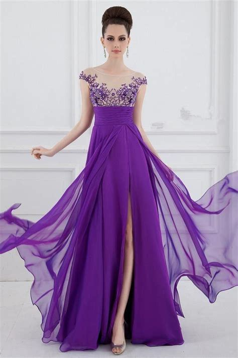 purple chiffon long bridesmaid party dress size 6 8 10 12