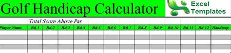 Golf Handicap Spreadsheet by Free Excel Golf Handicap Template