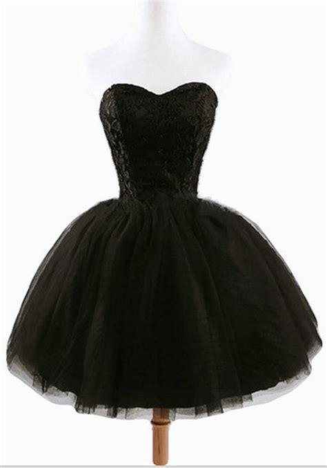 Sweet Mini Dress s black plain grenadine strapless lace up gown
