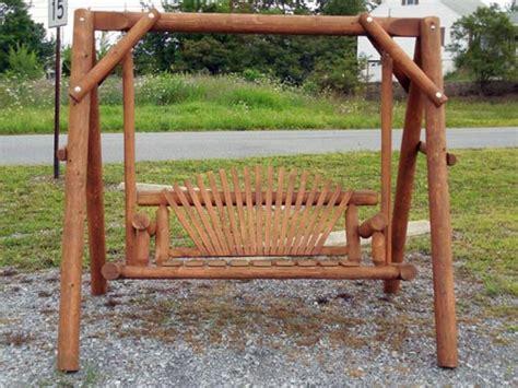 Backyard Creations Cedar Log Swing Handcrafted Wooden Outdoor Furniture Zimmermans Country