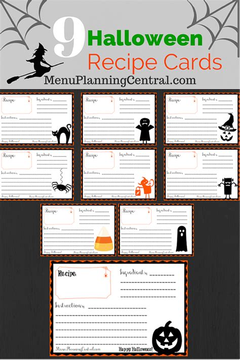 printable halloween recipes free printable halloween recipe cards menu planning central