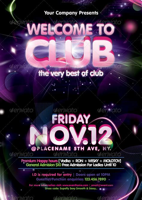 Welcome To Club Poster Flyer Template By Massamedia Graphicriver Welcome Flyer Template