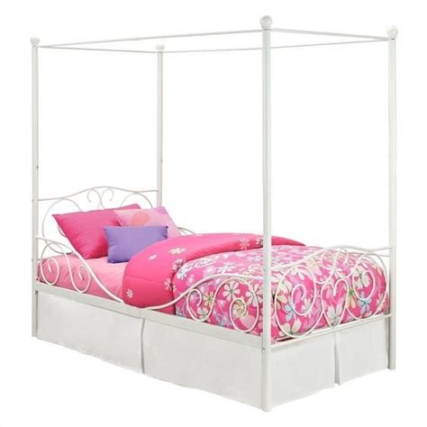 white bed canopy dhp twin metal canopy bed in white 493901