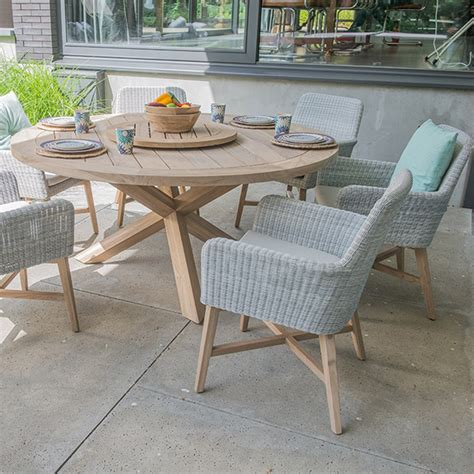 Lisboa Teak Table Rattan Chair Set By 4 Seasons Outdoor Four Seasons Outdoor Furniture