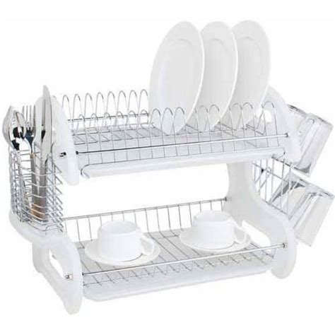 walmart kitchen sinks plastic kitchen sink inserts red protector home basics dish drainer 2 tier plastic red walmart com