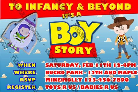Baby Shower Story by Its A Boy Story Baby Show And Custom E Invitations