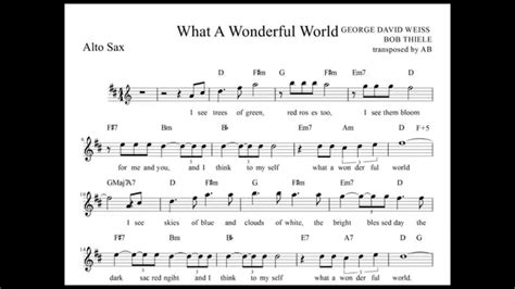 testo what a wonderful world quot what a wonderful world quot louis armstrong alto sax sheet