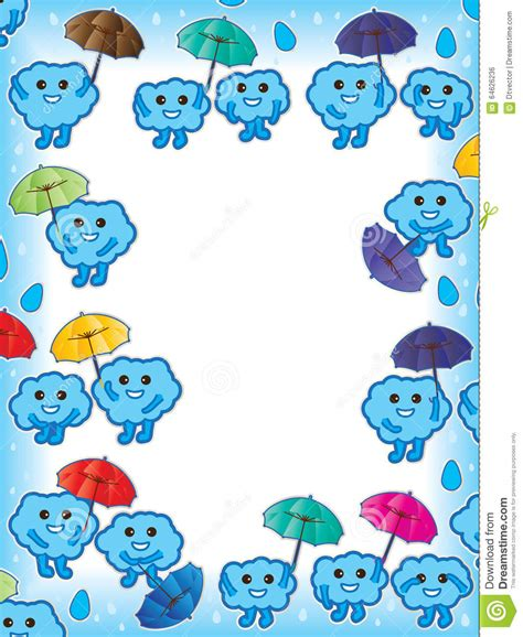 umbrella pattern effect in mobile communication cloud happy frame cute stock vector image 64626236