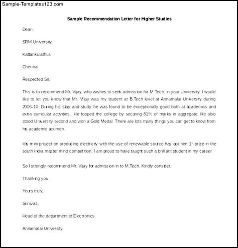 Recommendation Letter For Student For Higher Studies Free Recommendation Letter For Higher Studies Word Format Sle Templates