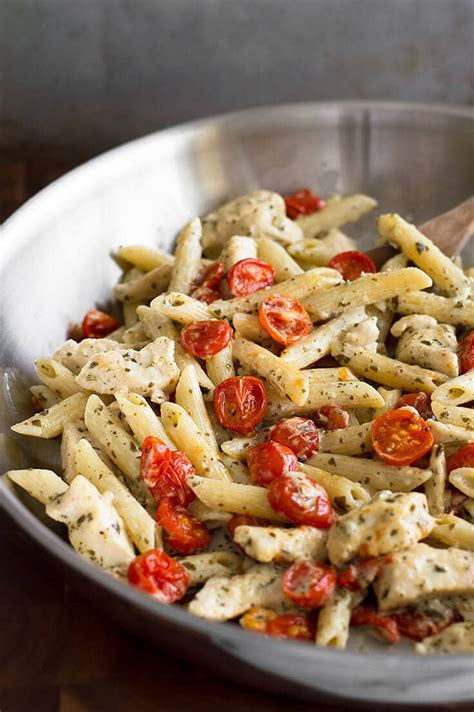easy pesto chicken pasta for two with oven roasted tomatoes baking mischief