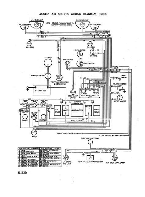 Austin A40 Sports GD2 - wiring diagram | A30, Dynamo