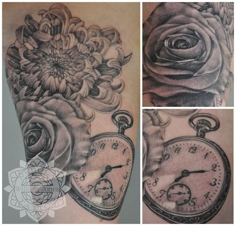 pocketwatch and flowers tattoo by nebulatattoo on deviantart