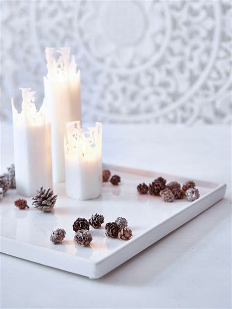White Candle Tray Scandi White Candle Tray Nordic House