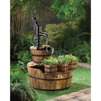 Outdoor Decor Garden Fountains Outdoor Wood Barrel W Handle Water Garden Decor Patio Yard Pool Ebay