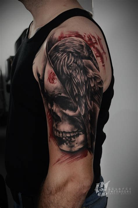 raven and skull tattoo skull tattoos eduardo fernandes