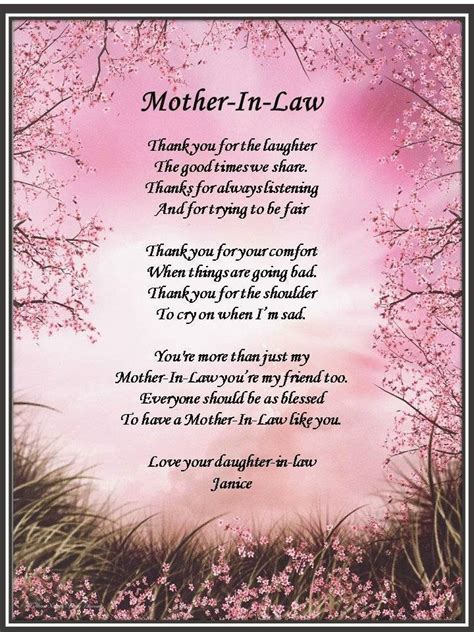mother in law s personalized mother in law poem gift for birthday mothers