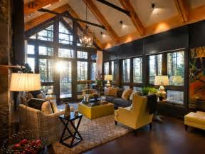 Hgtv Living Room Grand A Frame Living Room With Forest Views This