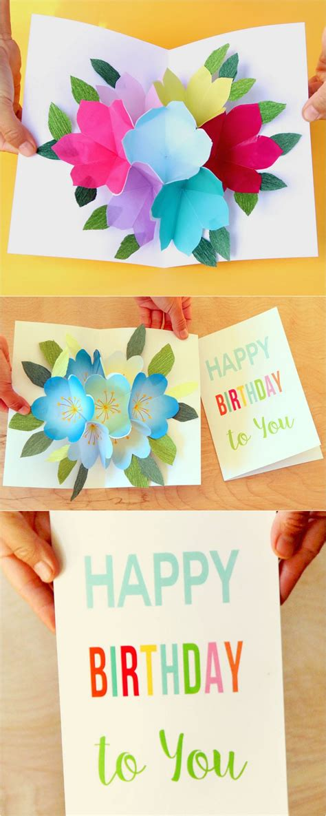 printable birthday cards diy free printable happy birthday card with pop up bouquet a
