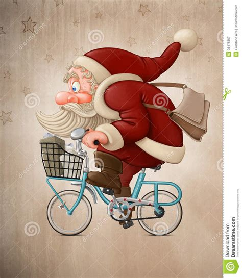 santa claus rides the bicycle stock illustration image