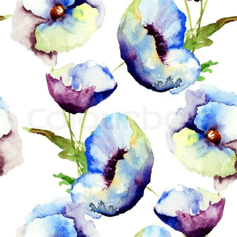 flower pattern painting seamless pattern with beautiful blue flowers watercolor