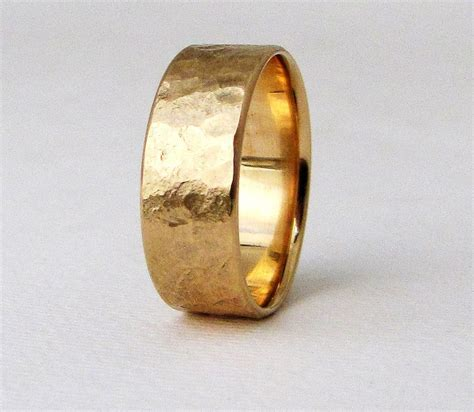 Mens Wedding Band Men's Gold Wedding Ring Rustic Mens